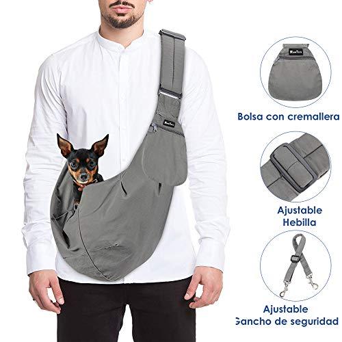 SlowTon Bandolera para Perro, Pet Carrier Dog Puppy Hand Sling para Cachorros Bandolera Correa de Hombro Acolchada Ajustable Tote Bag con Bolsillo Delantero Puppy Bolsa Bandolera de (Gris)