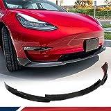 JC SPORTLINE Gloss Model 3 Real Carbon Fiber Front lip for Tesla Model 3 Air Dams Compatible Model 3 Front Bumper 2016 2017 2018 2019 2020 Factory Outlet (Gloss Carbon)