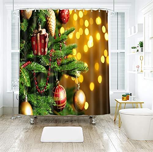 Dreamdge Duschvorhang Anti-Schimmel 180x200 Gelbgrün, Duschvorhang Weihnachtsbaum Weihnachtskugel