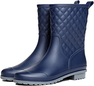 JXMYBA Short Rain Boots for Women,Waterproof Non Slip Ankel Rubber Chelsea Rain Booties Shoes