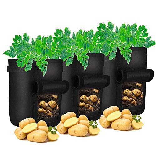 Deggodech 3 PCS Sac de Plantation Non Tissé de Jardin 10 Gallons Sacs de Culture de Pommes de Terre Noir Sacs à Plantes Legumes Croissance Sac avec Fenêtre et Poignées (10 Gallons)
