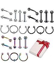 Set 3 piercing colore 24Pcs acciaio chirurgico Piercing per il corpo Stud Barbell per sopracciglia Lingua Naso Ear Lip capezzoli Sopracciglio elica Trago Cartilagine Anello(1.2 * 10MM)