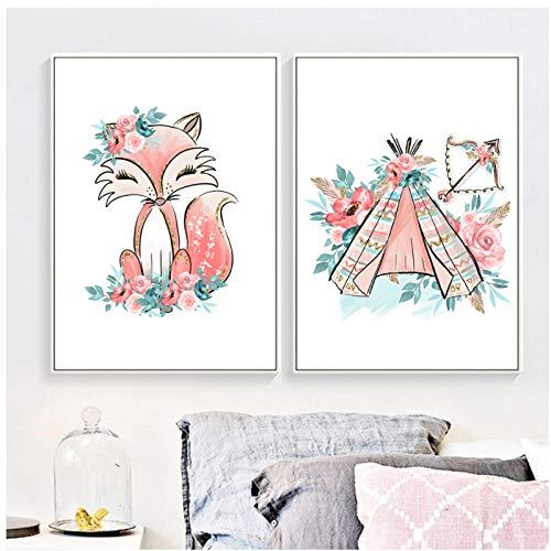 LLXHG Cartoon Pink Fox tent bloemenblad Nordic poster en afdrukken muurkunst canvas schilderij aquarel muurschilderijen kinderkamer decor-60X80cm × 2 niet-ingelijst