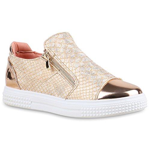 Damen Sneakers Zipper Metallic Cap Sneaker Low Kroko Print Sport Trainers Flach Turn Flats Slip-Ons Schuhe 134351 Rose Gold 36 Flandell