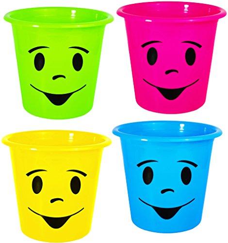 alles-meine.de GmbH 2 Stück _ Papierkörbe / Mülleimer / Blumentöpfe -  lustiges Gesicht bunt - NEON Farben  - Eimer / auch als Blumentopf nutzbar - Behälter 5 Liter - aus Kunst..
