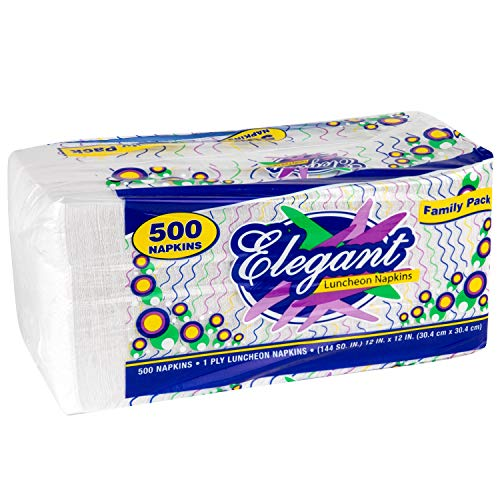 Stock Your Home 12 Inch Disposable Napkins - 1 Ply White Dinner Napkins - Recyclable Paper Napkins for Dinner, Parties, Crafts, & Daily Use - 500 Pack