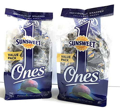 Prunes Pitted Individually Wrapped Sunsweet Individual Pitted Prunes Value Pack - 2 Packs (12 oz each) of Individually Wrapped Dried Prunes - Sweet, Delicious and a GREAT VALUE!