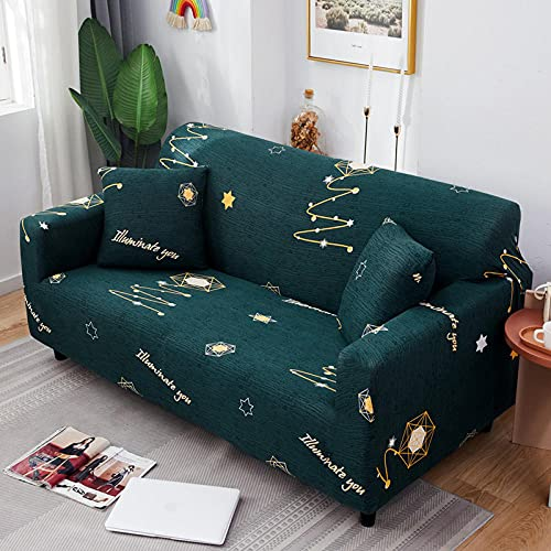 Funda Sofa 4 Plazas Chaise Longue Punto Estrella Verde Oscuro Fundas para Sofa ,Cubre Sofa Ajustables,Fundas Sofa Elasticas,Funda de Sofa Chaise Longue,Protector Cubierta para Sofá