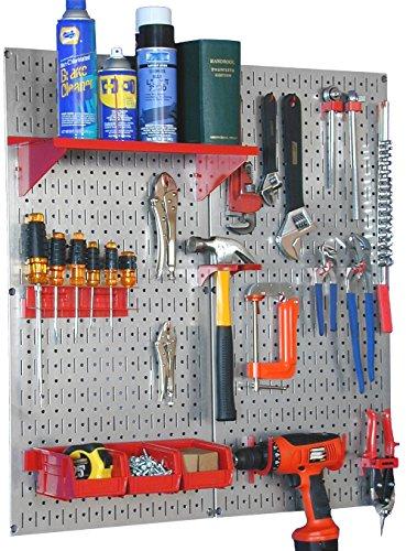 Wall Control 30-WGL-200GVR Galvanized Steel Pegboard Tool Organizer,Galv/Red