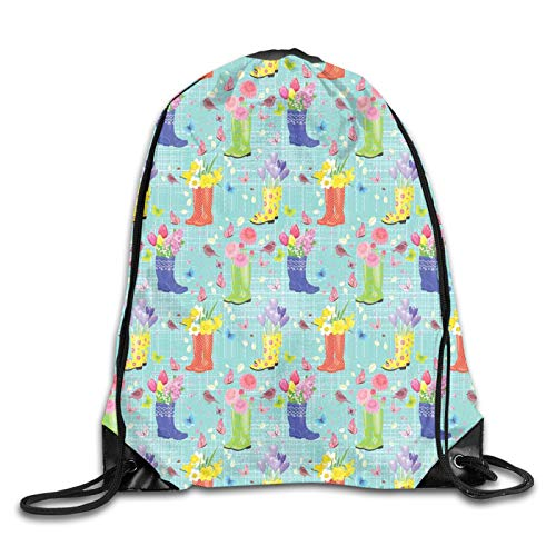 FULIYA Print Drawstring Backpack,Rubber Boots with Flowers Abstract Blue Toned Background Butterflies and Hearts,Beach Bag for Gym Shopping Sport Yoga