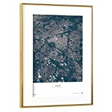 artboxONE Poster mit Rahmen Gold 60x40 cm Lille - City Map