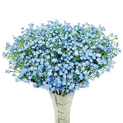 HANTAJANSS 12 pcs Baby Breath Gypsophila Artificial Flowers Bouquets Fake Real Touch Flowers for Wedding Party Decoration DIY Home Decor 21 Blue
