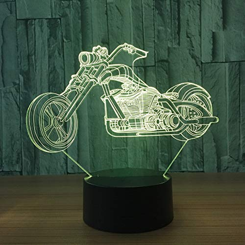 KangYD 3D Visual Night Light Motorcycle Lamp, LED Optical Illusion Lamp, A - Touch Black Base(7 Color), Decor Gift, Birthday Gift, Halloween Gift, Decor Lights, Touch LED, Decor Lamp
