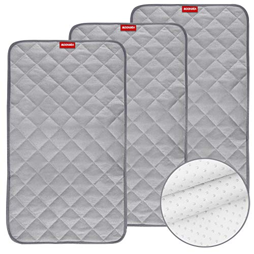 """Waterproof Changing Pad Liners Bamboo Terry Quilted with Non-Slip Back, 3 Pack Extra Thick Large Size 14""""x 27""""Changing Pad Liners Grey Waterproof Washable, Reusable Changing Mats Sheet Protector"""