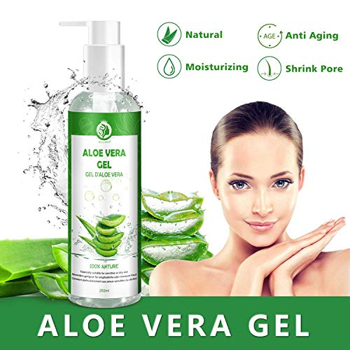 Aloe Vera Gel 100{940b1f7d1b38318ec604e6057a1c14188d35f343218e977c61992580d4fe983a} Pur - für Gesicht, Haare und Körper - Natürliche, beruhigende und pflegende Feuchtigkeitscreme - Ideal für trockene, strapazierte Haut & Sonnenbrand - 250ml MEHRWEG