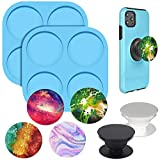 Palksky Phone Grip Resin Mold, 2Pcs Silicone On Top Phone Socket Molds for Popsocket, 4 Cavity Circle Epoxy Casting Mold with 2Pcs Phone Sockets for DIY Crafts Jewelry Making