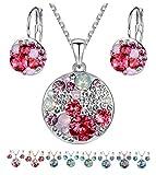 Leafael [presentada por Miss Nueva York] quot;océano Burbujas Swarovski Crystal Multi-Stone Redondo Disco Collar con Colgante Pendientes Joyas Juego, 18'+ 2'