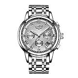 Zwbfu Reloj de Negocios de Acero Inoxidable, Reloj Deportivo de Cuarzo para Hombre, Reloj de Pulsera de Lujo Multifuncional a la Moda