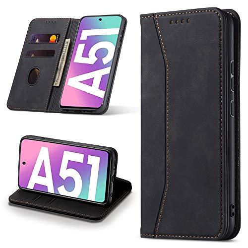 Leaisan Handyhülle für Samsung Galaxy A51 Hülle Premium Leder Flip Klappbare Stoßfeste Magnetische [Standfunktion] [Kartenfächern] Schutzhülle für Samsung Galaxy A51 Tasche - Schwarz
