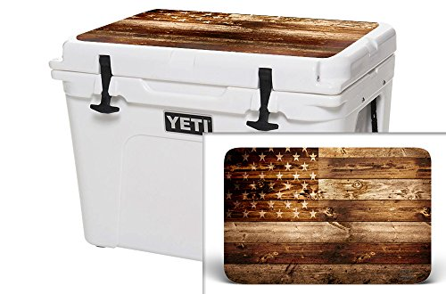 USATuff Wrap (Cooler Not Included) - Lid Kit Fits YETI 65qt Tundra - Protective Custom Vinyl Decal - USA Flag Wood