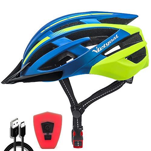 VICTGOAL Casco Bicicleta Adulto con Seguridad LED Luz Trasera Casco de Montaña para Hombres Mujeres Casco Bicicleta con Visera Desmontable 57-61 CM (Azul Amarillo)