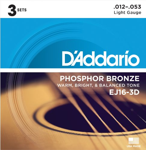 D'Addario EJ16-3D Phosphor Bronze Acoustic Guitar Strings, Light Tension –...