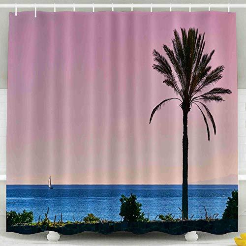 Cortina de Ducha, Cortina de Ducha Transparente, Palm Sunset Sky de The Island from Tenerife Background Pink oceanView La Gomera Juego de baño de decoración Impermeable con Ganchos