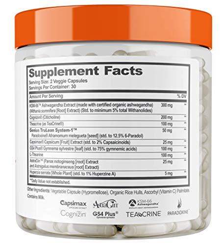 Genius Fat Burner - Thermogenic Weight Loss & Nootropic Focus Supplement - Natural Metabolism & Energy Booster for Men & Women | Thyroid Support and Appetite Suppressant w/ Gymnema Sylvestre, 60 Pills 8