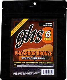 GHS acústica Phosphor Bronze Light Flexibilidad y rico tono, brillante Cuerda de calibre 12–54 Multi-pack de 6conjuntos, cada uno con 6cuerdas