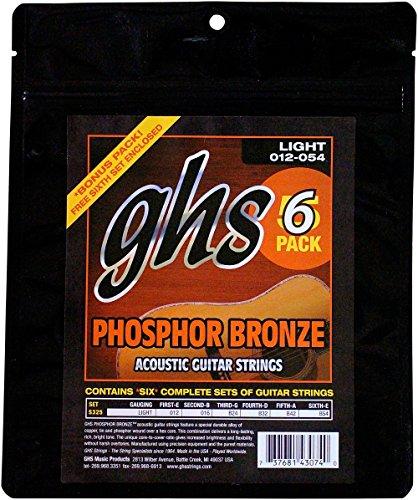 GHS S325-5 12-54 luz bronce fósforo juego de cuerdas para acústica (6 unidades)
