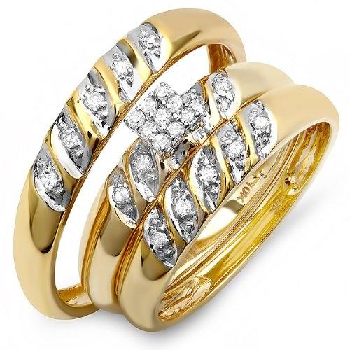 DazzlingRock Anillo de compromiso de oro amarillo de 10 quilates con diamante redondo para mujer y hombre y mujer, con anillo de compromiso de 1/4 quilates (0,25 quilates, color H-I, claridad I1-I2)
