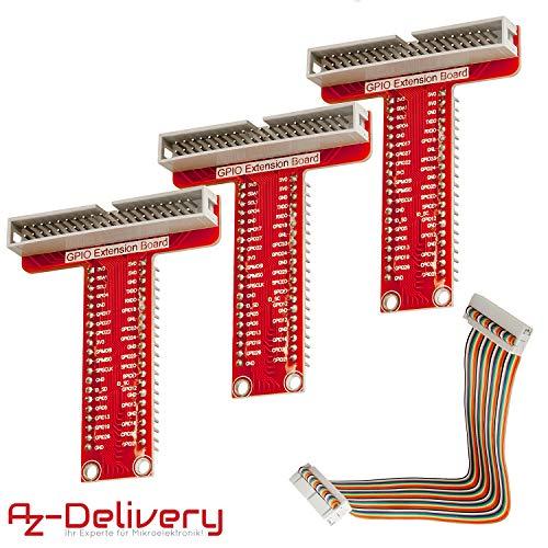 AZDelivery 3 x 40 Pins GPIO Breakout Board und kompatibles Flachband Ribbon Kabel für Raspberry Pi