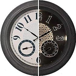 PresenTime & Co 18 Indoor / Outdoor Luminous Farmhouse Wall Clock with Thermometer & Hygrometer, Quartz Movement -Gray Stone Finish, Bright Warm Light
