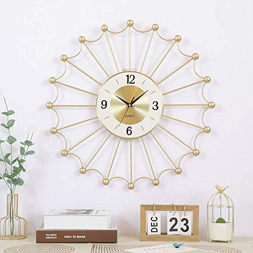 kyman Luz nórdica Lujo Metal Reloj de Pared Sala de Estar Dormitorio Decoración de Pared Decoración Creativa Reloj de Pared de 24 Pulgadas Gráficos de Pared 60 * 5 * 60 cm