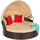 Best Choice Products 5-Piece Modular Patio Wicker Daybed Sectional Conversation Set, Clam Shell Lounger w/ 2-in-1 Setup, Adjustable Seats, Clips, Retractable Canopy, Cover, Weather-Resistant Cushions