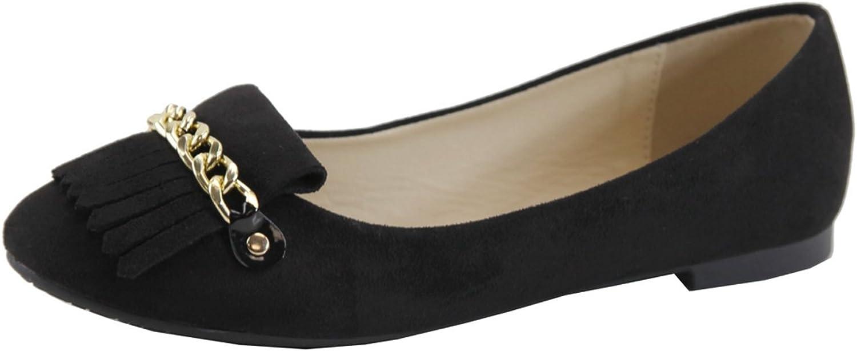 Lovmark Women's Slip-On Chain Link Tassel Loafer Ballet Flat