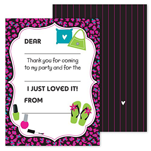 Pink Girls Cheetah Party Thank You Note Card Pack - Set of 20 fill in the blank cards with envelopes