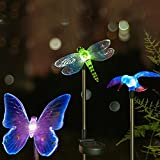Quace Solar Garden Lights, Hummingbird, Butterfly & Dragonfly Solar Stake Lights, Solar Powered Pathway Lights, Multi-Color Changing Led Lights - 3 Sets
