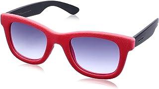 نظارة شمس لونين بعدسات شبه مربعة ازرق متدرج وشنبر قطيفة للنساء من ايطاليا انديبندنت - احمر