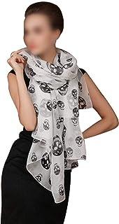Flyme Unisex Skull Print Chiffon Scarf Ornamental Kerchief Cozy