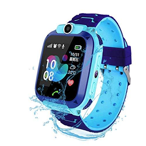 F-FISH Smart Watch Phone per Bambini IP67 Impermeabile,Orologio Smart Phone LBS Anti-perso con Chat Vocale, Sveglia SOS per il Gioco di Matematica Studente Smart Watch,Regalo Ragazzo e Ragazza (Blu)