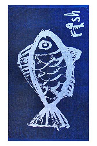 Casa Colori Strandtuch Saunatuch aus 100% Baumwolle 86x160 cm Strandtuch in Blau mit weißen Fisch