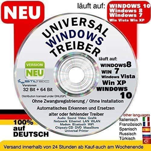 UNIVERSAL TREIBER CD DVD FÜR COMPUTER LAPTOP NOTEBOOK für WINDOWS XP BIS 10