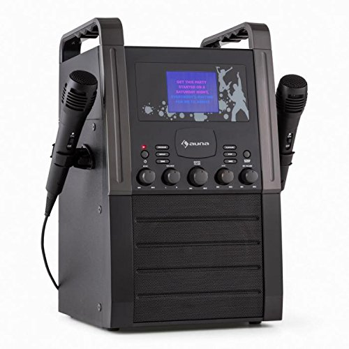 auna KA8P-V2 BK Karaoke Anlage mit 2 x Mikrofon - Karaoke Player , Karaoke Set , 9 cm (3,5