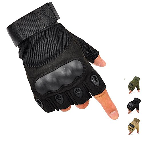 K-mover Outdoors Camping Half Gloves Tactical Fingerless Gloves Durable Cycling Gloves (Black, Large)