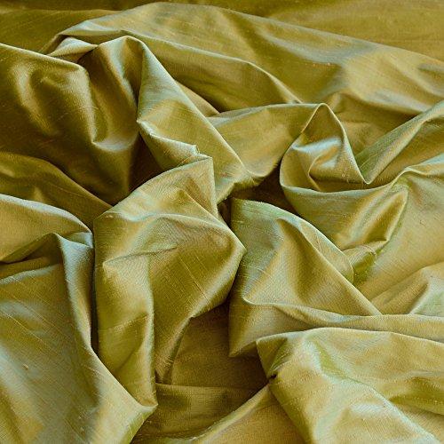 "Iridescent Blush Lime Dupioni Silk, 100% Silk Fabric, By The Yard, 44"" Wide"