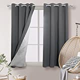 Deconovo Blackout Curtains Silver Coated Thermal Insulated Noise Reducing Room Darkening Drapes for French Doors 52W x 54L Inch Dark Grey 2 Panels