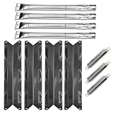 VICOOL BBQ Grill Kits Replacement for Kenmore 146.16198211,146.34611410,146.10016510, Porcelain Heat Shield, Stainless Steel Burners and Crossover Tubes Parts