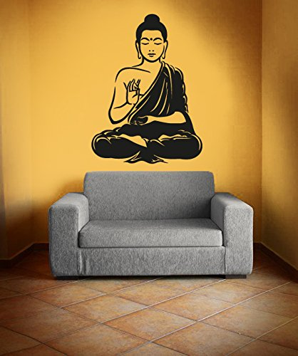 CreativeWallDecals Vinyl Wall Decal Sticker Bedroom Buddha Statue Mandala Yoga Namaste Om Lotus r1533