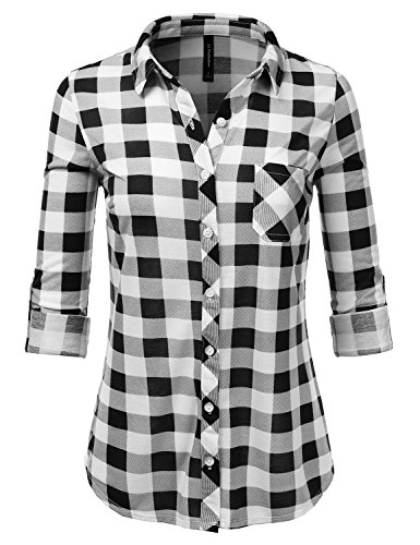 JJ Perfection Womens Long Sleeve Collared Button Down Plaid Flannel Shirt MUSTARDOLIVE S